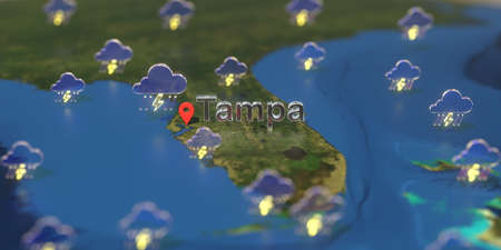 Tampa city and stormy weather icon on the map, weather forecast related 3D rendering Zdjęcie Seryjne