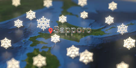 Snowy weather icons near Sapporo city on the map, weather forecast related 3D rendering Zdjęcie Seryjne