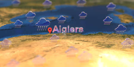 Algiers city and rainy weather icon on the map, weather forecast related 3D rendering Stock fotó