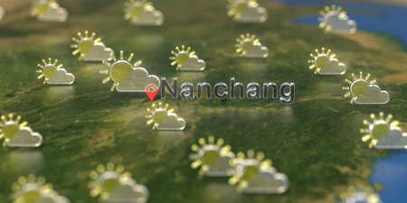 Partly cloudy weather icons near Nanchang city on the map, weather forecast related 3D rendering