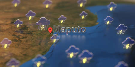 Maputo city and stormy weather icon on the map, weather forecast related 3D rendering Zdjęcie Seryjne