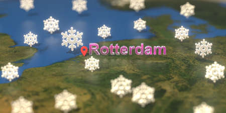 Rotterdam city and snowy weather icon on the map, weather forecast related 3D rendering