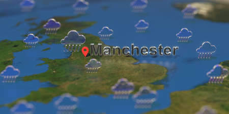 Rainy weather icons near Manchester city on the map, weather forecast related 3D rendering Stock fotó
