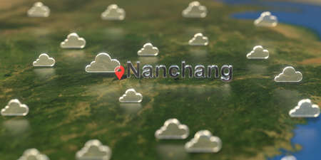 Cloudy weather icons near Nanchang city on the map, weather forecast related 3D rendering
