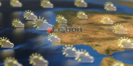 Lisbon city and partly cloudy weather icon on the map, weather forecast related 3D rendering
