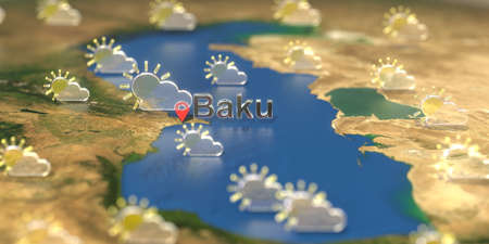 Baku city and partly cloudy weather icon on the map, weather forecast related 3D rendering Zdjęcie Seryjne