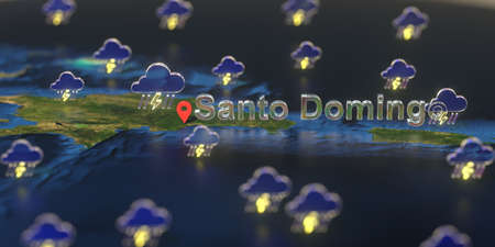 Stormy weather icons near Santo Domingo city on the map, weather forecast related 3D rendering