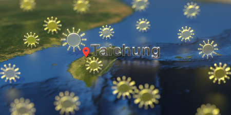 Taichung city and sunny weather icon on the map, weather forecast related 3D rendering