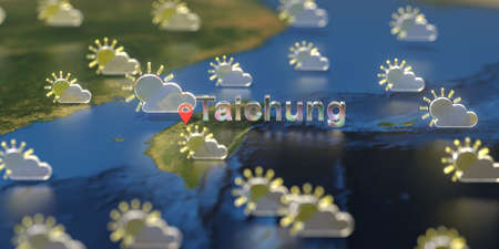 Taichung city and partly cloudy weather icon on the map, weather forecast related 3D rendering Zdjęcie Seryjne