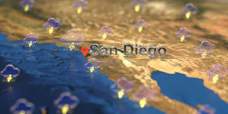 San Diego city and stormy weather icon on the map, weather forecast related 3D rendering