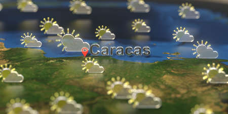 Partly cloudy weather icons near Caracas city on the map, weather forecast related 3D rendering