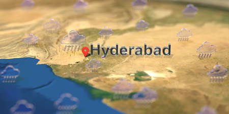 Rainy weather icons near Hyderabad city on the map, weather forecast related 3D rendering Stock fotó
