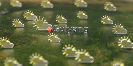 Partly cloudy weather icons near Guiyang city on the map, weather forecast related 3D rendering