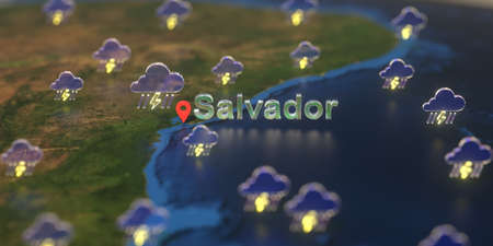 Stormy weather icons near Salvador city on the map, weather forecast related 3D rendering Zdjęcie Seryjne