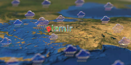 Izmir city and rainy weather icon on the map, weather forecast related 3D rendering Stock fotó