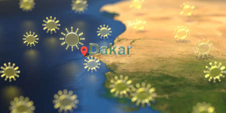 Dakar city and sunny weather icon on the map, weather forecast related 3D rendering
