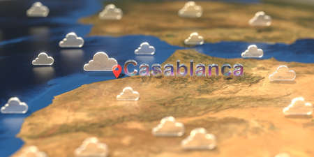 Casablanca city and cloudy weather icon on the map, weather forecast related 3D rendering