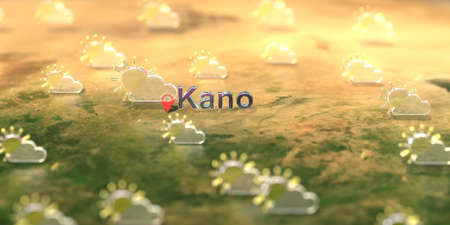 Kano city and partly cloudy weather icon on the map, weather forecast related 3D rendering