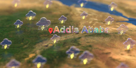 Addis Ababa city and stormy weather icon on the map, weather forecast related 3D rendering Zdjęcie Seryjne