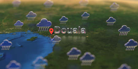 Rainy weather icons near Douala city on the map, weather forecast related 3D rendering