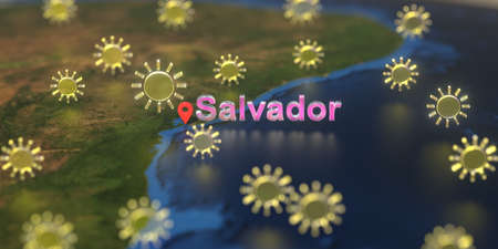 Sunny weather icons near Salvador city on the map, weather forecast related 3D rendering Zdjęcie Seryjne