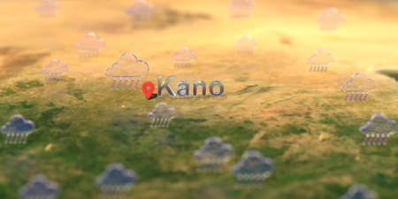 Kano city and rainy weather icon on the map, weather forecast related 3D rendering