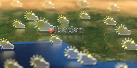 Ibadan city and partly cloudy weather icon on the map, weather forecast related 3D rendering Zdjęcie Seryjne