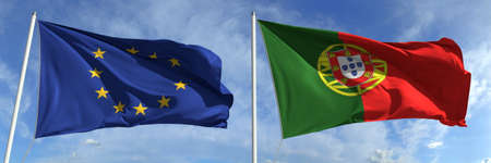 Flying flags of the European Union and Portugal on high flagpoles. 3d rendering Zdjęcie Seryjne