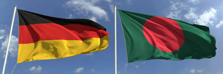Flags of Germany and Bangladesh on flagpoles. 3d rendering Zdjęcie Seryjne