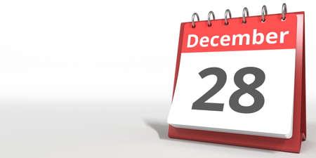 December 28 date on the flip calendar page, 3d rendering Zdjęcie Seryjne