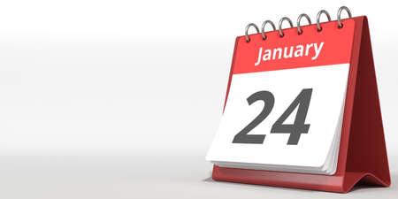 January 24 date on the flip calendar page, 3d rendering Zdjęcie Seryjne