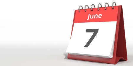 June 7 date on the flip calendar page, 3d rendering