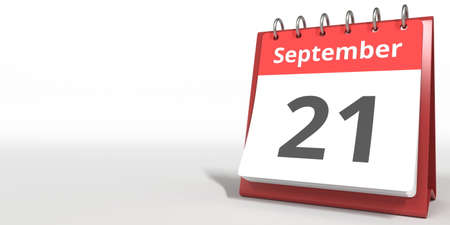 September 21 date on the flip calendar page, 3d rendering