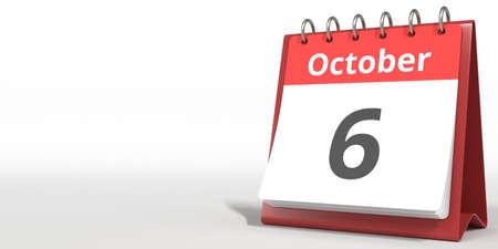 October 6 date on the flip calendar page, 3d rendering