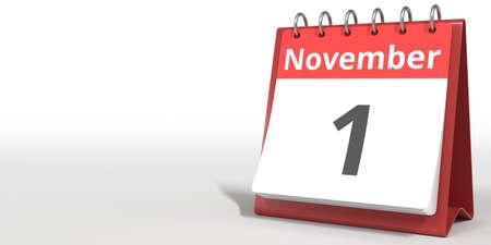 November 1 date on the flip calendar page, 3d rendering