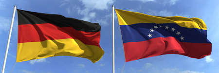 Flying flags of Germany and Venezuela on sky background, 3d rendering