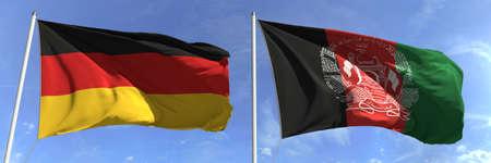 Flying flags of Germany and Afghanistan on sky background, 3d rendering Zdjęcie Seryjne