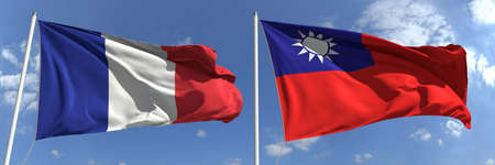 Waving flags of France and Taiwan on flagpoles, 3d rendering