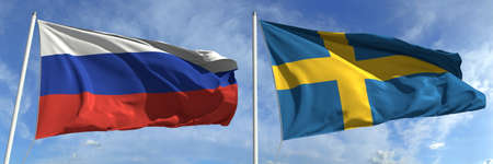 Flags of Russia and Sweden on flagpoles. 3d rendering