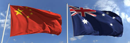Waving flags of China and Australia on flagpoles, 3d rendering