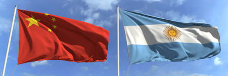 Waving flags of China and Argentina on flagpoles, 3d rendering