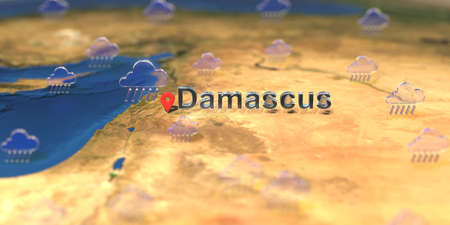 Rainy weather icons near Damascus city on the map, weather forecast related 3D rendering