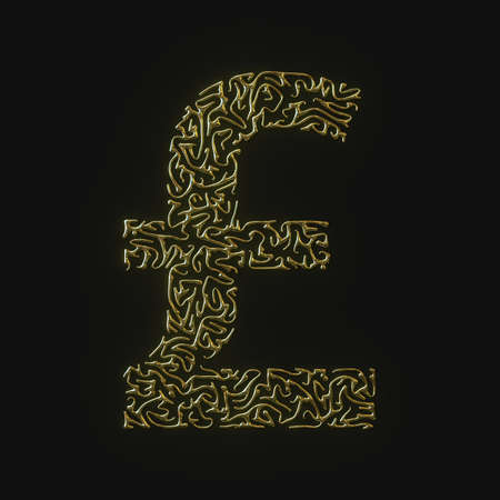 High resolution pound sterling symbol made of molded golden lines. 3d rendering Stock Photo