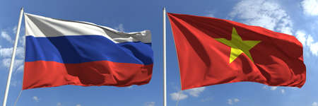 Flying flags of Russia and Vietnam on high flagpoles. 3d rendering