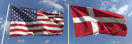National flags of the United States and Denmark, 3d rendering