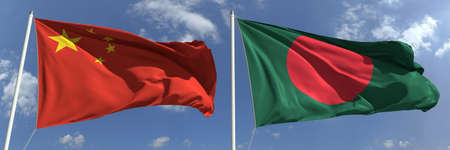 Flags of China and Bangladesh on flagpoles. 3d rendering Stock Photo