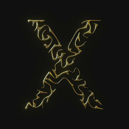 High resolution letter X symbol made of molded golden lines. 3d rendering Stockfoto