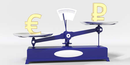 Euro symbol outweighs Ruble sign on balance scales. Financial market trend conceptual 3d rendering Stock fotó