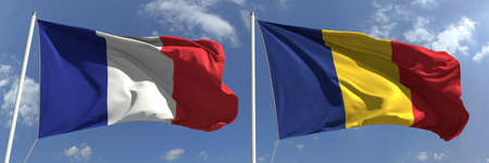 National flags of France and Romania, 3d rendering