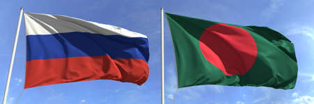 Flags of Russia and Bangladesh on flagpoles. 3d rendering